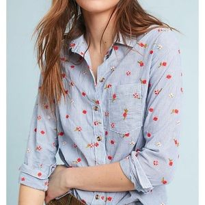 Anthropologie Maeve embroidered button down shirt